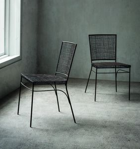 Giulia, Chaise en métal et rotin