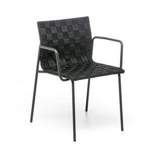 Zebra AR, Chaise d'extérieur avec accoudoirs, coquille tissée avec des ceintures de polypropilène