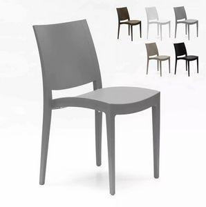 Chaise en polypropylène pour salle à manger bar et restaurant Grand Soleil Trieste S6225, Chaise empilable en polypropylène
