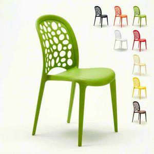 Chaises de cuisine empilables avec barre de jardin Design WEDDING HOLES MESSINA - SW609PP, Chaise colorée en polypropylène pour jardin