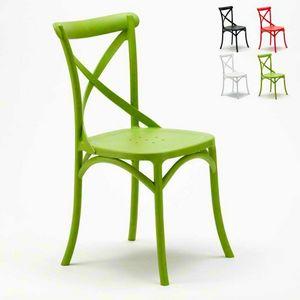 Chaises de cuisine en polypropylène VINTAGE Paesana Cross design - SV681PP, Chaise avec dos croisé