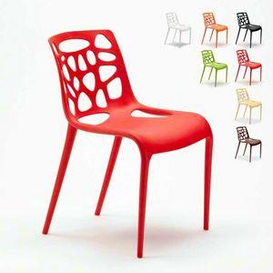 Chaises en polypropylène anti-UV design moderne GELATERIA Connubia pour cuisine et bar - SG613PP, Chaise en polypropylène pour bar extérieur