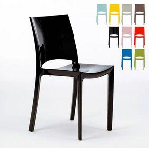 Chaises pour cuisine salle à manger bar brillante Grand Soleil Sunshine Design Moderne en Polypropylène S6215, Chaise de cuisine en polypropylène