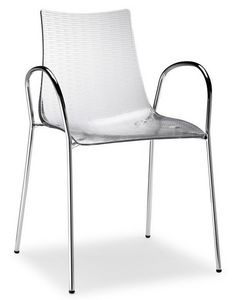 Dea Anti-Scratch 2620, Chaise avec accoudoirs, assise en polycarbonate anti-griffure, empilable