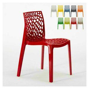 Fauteuil intérieur en polypropylène intérieur Gruvyer – S6316, Chaise moderne en polypropylène brillant, empilable