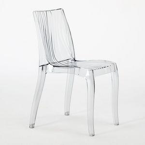 Grand soleil Chaise en polycarbonate transparent Dune – S6327, Chaise empilable en polycarbonate translucide, pour intérieur et extérieur