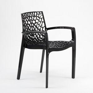 Jardin extérieur chaise empilable Gruvyer Arm – S6626B, Chaise empilable avec accoudoirs, en plastique brillant, pour intérieur et extérieur
