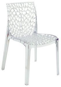 SE 6316.TR, Chaise en plastique transparent perforé adapté pour l'extérieur