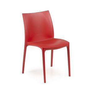 Zip, Chaise avec assise et dossier en plastique, empilable