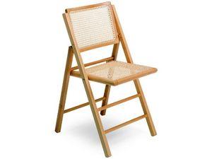 105, Chaise avec pliage structure en bois et canne hêtre