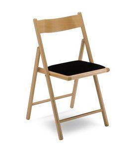 187, Chaise pliante, avec siège rembourré, en bois de hêtre