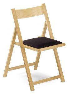 193, Chaise pliante en bois de hêtre, assise rembourrée, pour les cérémonies