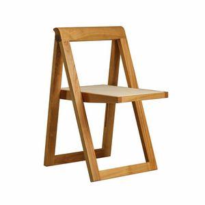 Ciak 5188, Chaise pliante en bois, avec assise en cuir