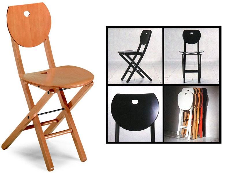Erica, Chaise pliante en bois, pour la maison et le bureau