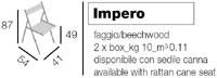 Impero, Chaise d'économie d'espace avec dossier décoré