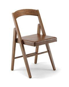 JL 11, Chaise pliante en hêtre massif, assise en éco-cuir