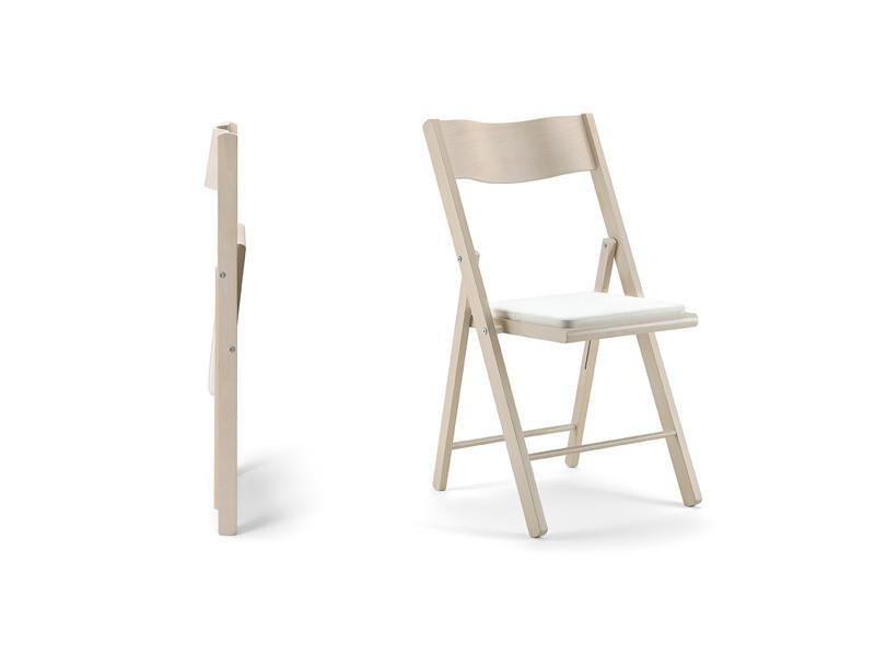 Kate, Chaise pliante en bois, siège rembourré, pour des événements