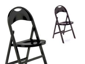 Naima, Chaise pliante élégante, en bois foncé