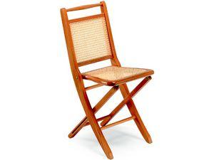 Paola, Chaises pliantes en bois, siège et dossier en canne