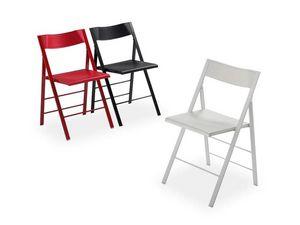 Pocket plastic, Polyvalent chaise pliante, structure en métal, assise et dossier en polypropylène coloré