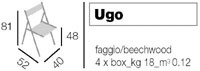 Ugo, Chaises pliantes en bois foncé