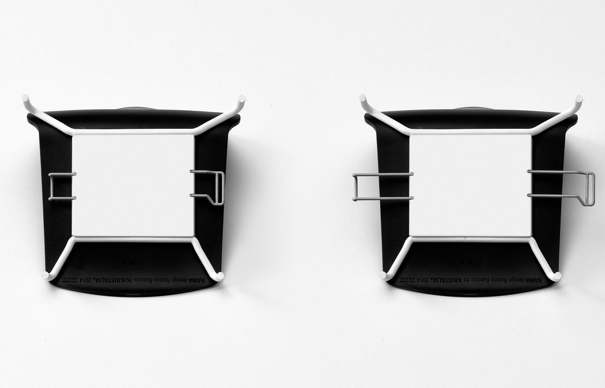 Base de Slide Rama avec accoudoirs rembourrés, Chaise empilable rembourrée avec piètement luge et accoudoirs