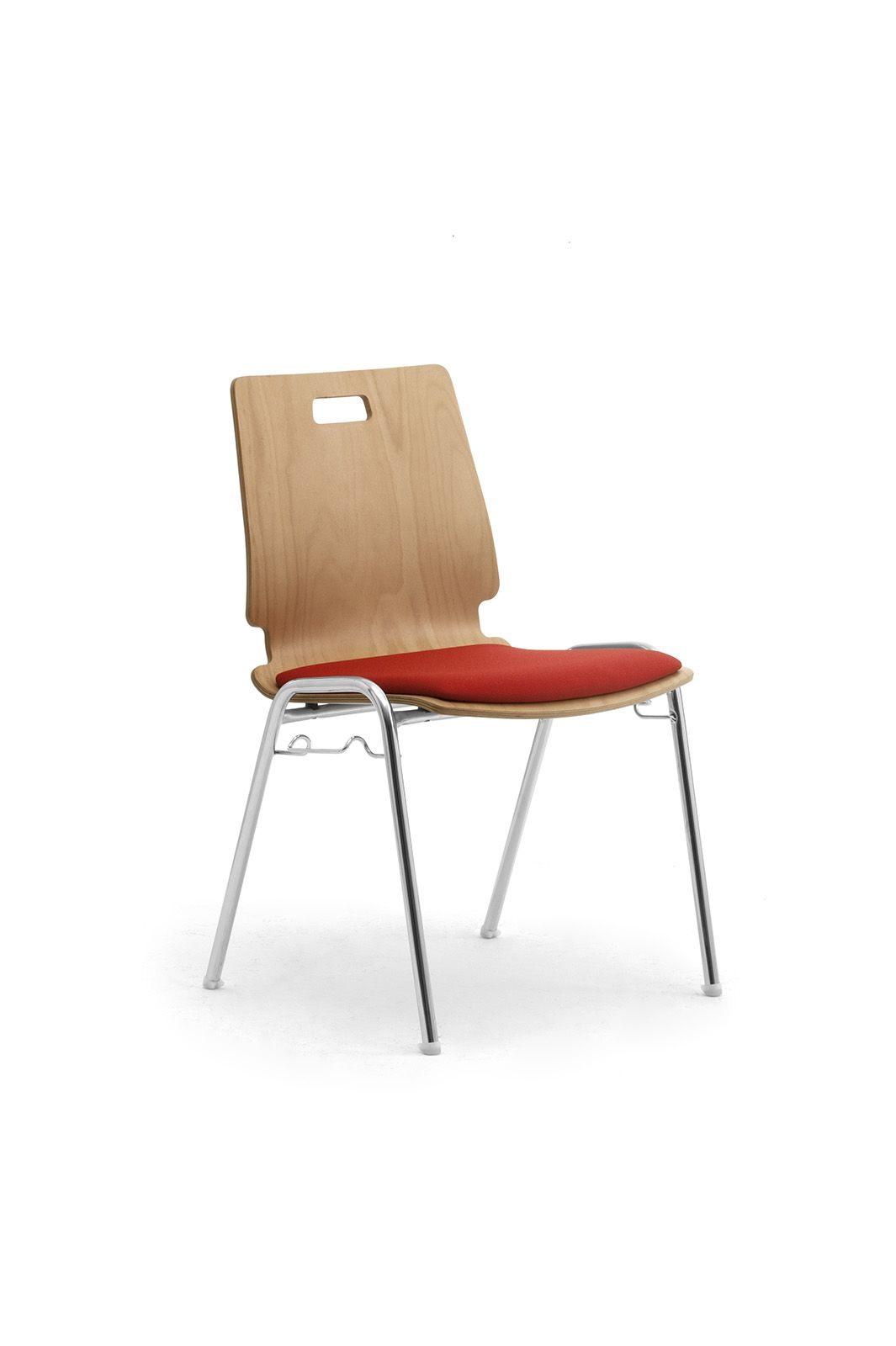 Cristallo 0662LE, Chaise en bois et en métal pour salles d'attente et bureaux