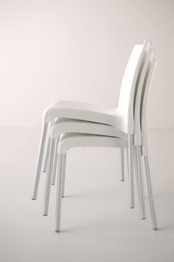 Maya, Chaise empilable avec siège en plastique