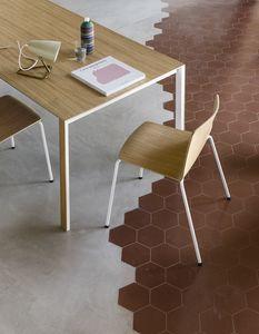 Rama Four Legs wood, Chaise design en acier et contreplaqué, robuste et durable