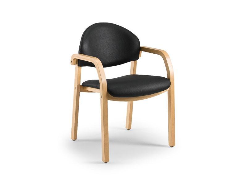 Soleil 68171, Chaise rembourrée en bois pour salles d'attente, l'épreuve du feu