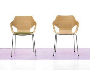 Spark Wood 01, Chaise avec base en acier et coque en bois, pour la conférence