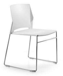 TREK 030, Chaise empilable, luges en métal, polymère d'enveloppe