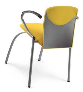 VULCAN 1288 Z, Chaise empilable rembourrée avec accoudoirs, en différentes couleurs