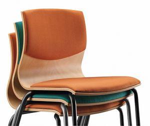 WEBWOOD 353 S, Chaise avec structure en métal, coque en bois tapissée