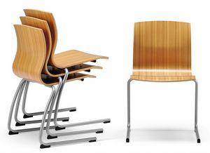 WEBWOOD 356, Chaise empilable avec coque en contreplaqué, luges