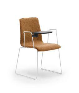 Zerosedici luge, Chaise avec traîneau en tige, avec tablette écrite