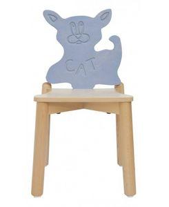 ANIMALANDIA - Cat, Chaise empilable en hêtre, en arrière avec la forme de chat