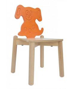 ANIMALANDIA - Dog, Chaise empilable, en bois de hêtre, dossier bouleau