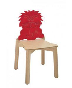 ANIMALANDIA - Lion, Chaise en hêtre avec dossier original, pour l'école