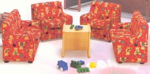 LILLI, Le fauteuil de petits enfants, rembourrés avec du tissu coloré, pour l'enfant et la pépinière chambre