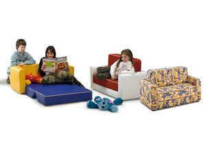 PISOLO, Canapé-lit pour les enfants, recouvert de simili cuir ou en tissu, pour la maternelle
