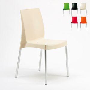 Bar empilable chaise d'extérieur en intérieur Boulevard – S3340, Chaise en plastique, avec pieds en aluminium