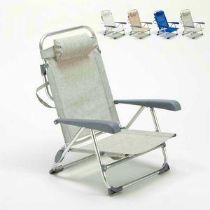 Chaise de plage avec petit repose-pieds en aluminium spiaggina pliable GARGANO - GA800CSC, Chaise de plage pliante avec accoudoirs