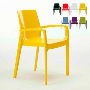 Chaise empilable avec bras Cream – S6617, Chaise en polypropylène avec accoudoirs, robuste