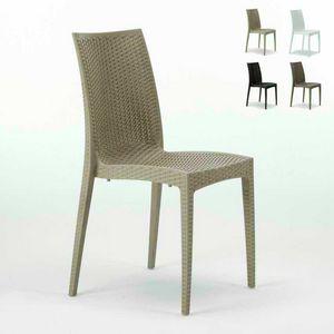Chaise en résine tissée Bar Garden – S6380, Chaise en rotin tissé, empilable, certifiée EN
