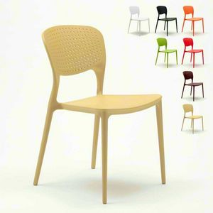 Chaises de cuisine empilables en polypropylène pour l'extérieur GARDEN GIULIETTA - SG689PP, Chaise d'extérieur empilable et durable
