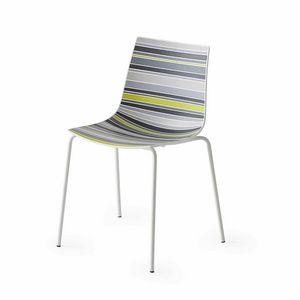 Colorfive NA, Chaise avec coque en plastique avec des rayures fantaisie