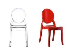 Elizabeth, Chaise en plastique avec dossier ovale, pour l'extérieur