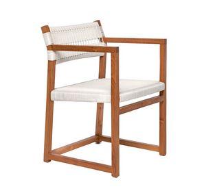 Emily 4322, Chaise en bois de teck adapté pour une utilisation extérieure et intérieure