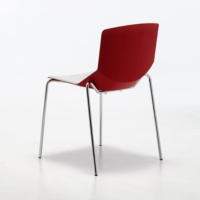 Formula tech 4L, Chaise empilable, assise et dossier en polyuréthane, adapté pour une utilisation en intérieur et extérieur